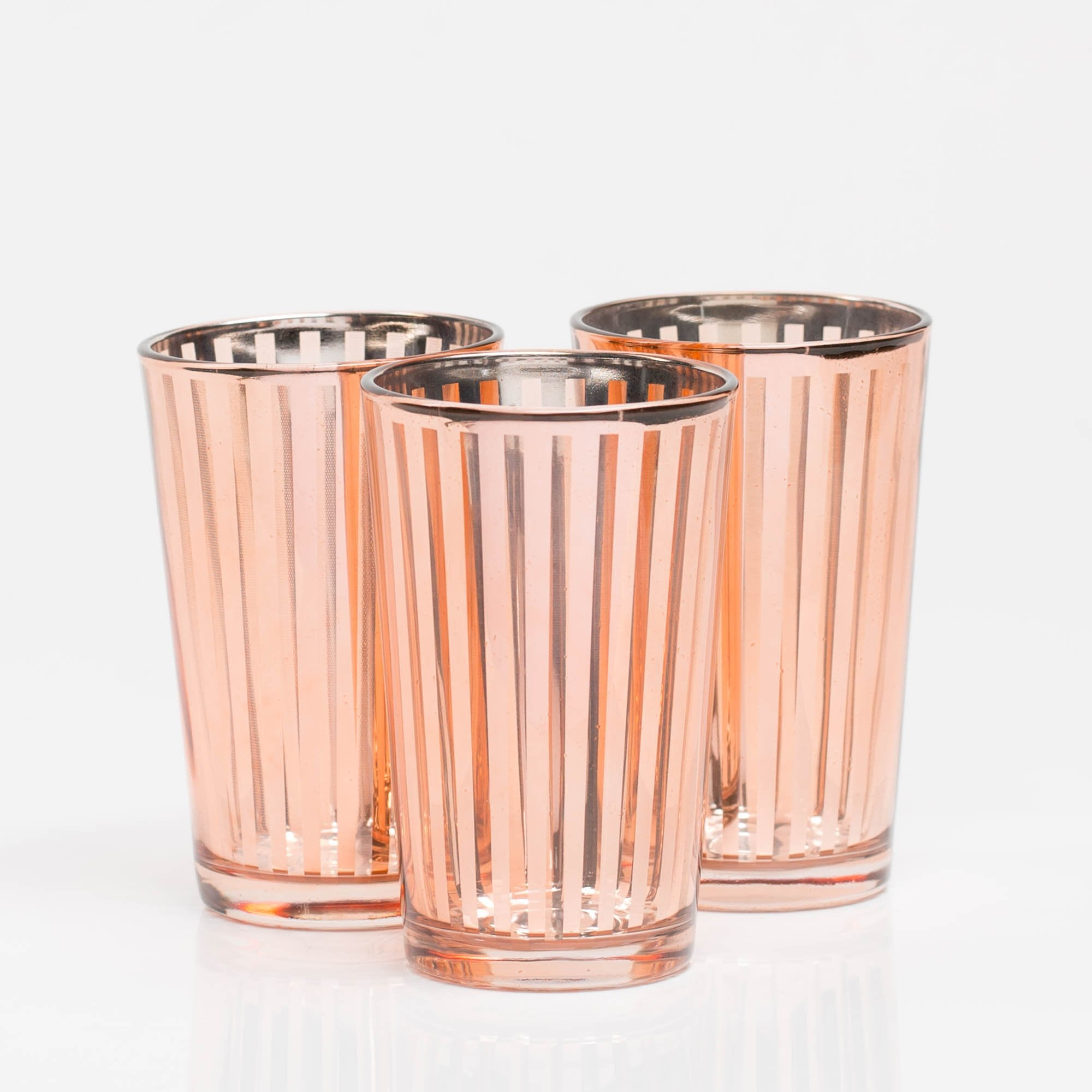 Richland Rose Gold Stripe Glass Holder - Large Set of 6