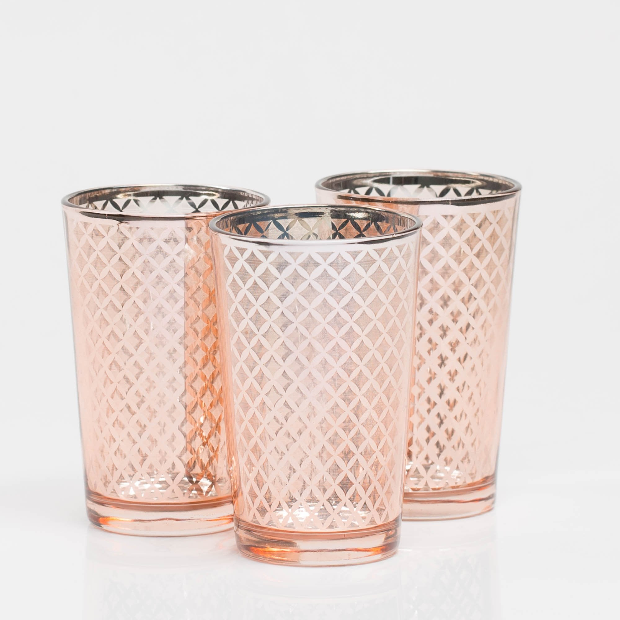 Richland Rose Gold Lattice Glass Holder - Large Set of 48