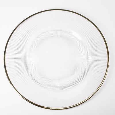 richland 13 gold rim glass charger plate