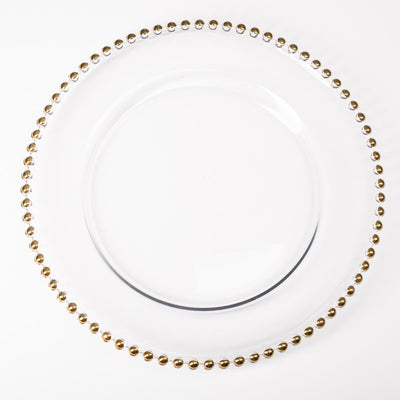 richland 13 gold beaded glass charger plate set of 12