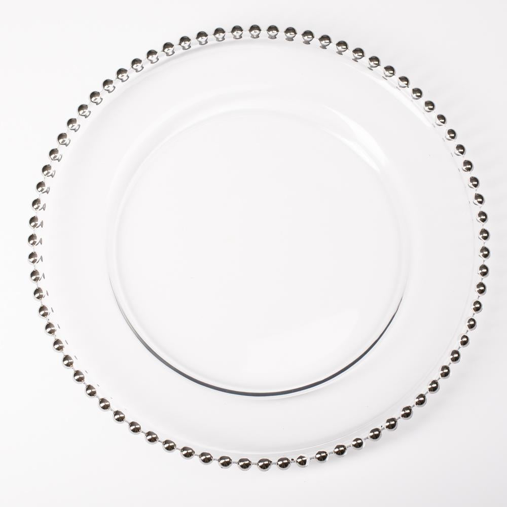richland 13 silver beaded glass charger plate