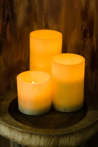 "Richland Flameless LED Pillar Candle Birch 4"" x 4"" Set of 12"