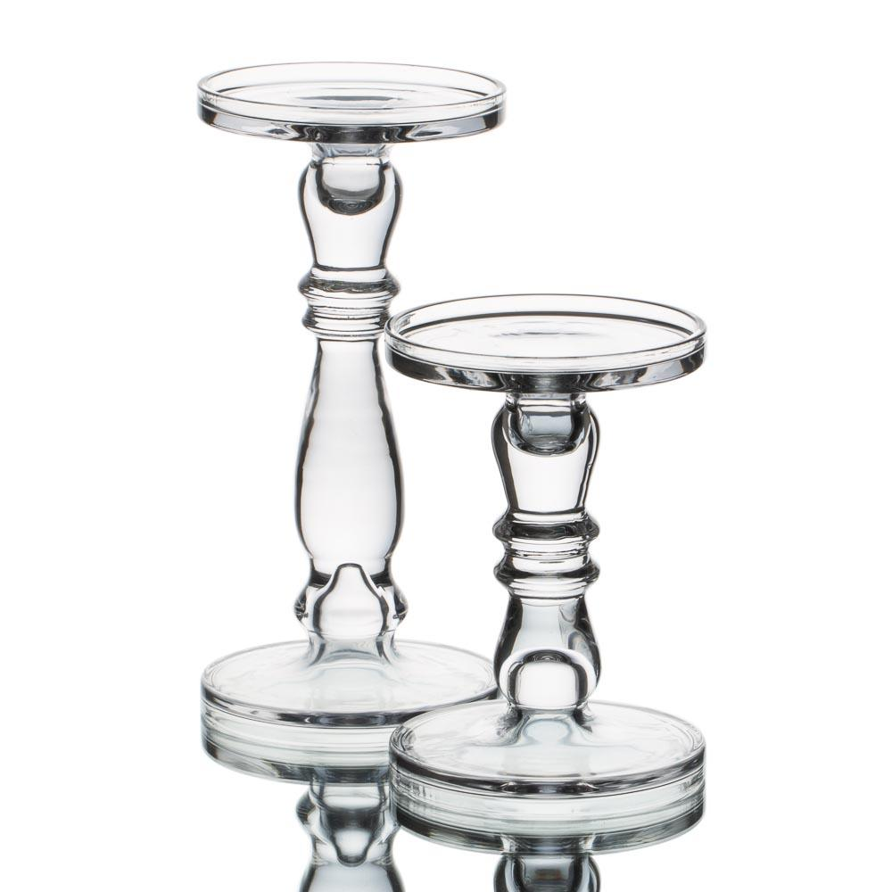 richland o hara glass pillar taper candle holder set of 2