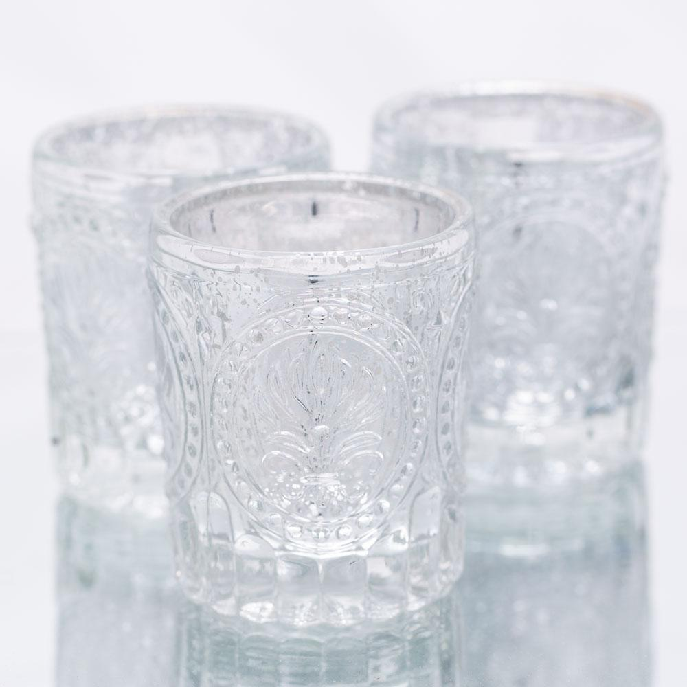 richland mercury votive holder primrose silver set of 12
