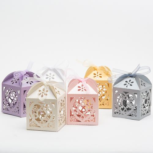 Richland Love Heart Laser Cut Favor Box with Organza Ribbon, Pearl Silver Set of 50