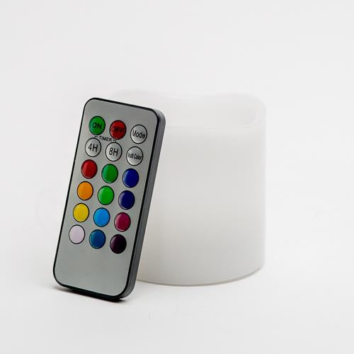 "Richland Flameless LED Remote Control Wavy Top Pillar Candle White 3""x3"" Set of 24"