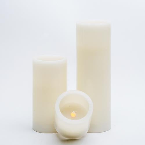 "Richland Flameless LED Pillar Candles 3""x3"" Ivory Set of 6"