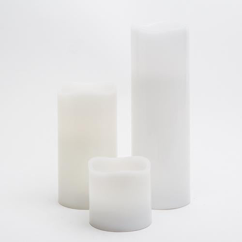 "Richland Flameless LED Wavy Top Pillar Candles 3""x3"", 3""x6"" & 3""x9"" White Set of 3"