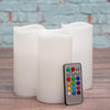 "Richland Flameless LED Remote Control Wavy Top Pillar Candle White 3""x6"" Set of 3"