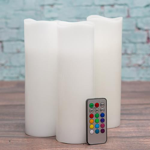 "Richland Flameless LED Remote Control Wavy Top Pillar Candle White 3""x9"" Set of 3"