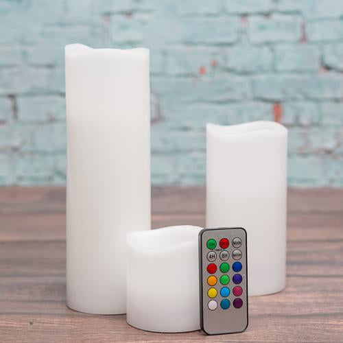 "Richland Flameless LED Remote Control Wavy Top Pillar Candle White 3""x3"", 3""x6"", 3""x9"" Set of 3"