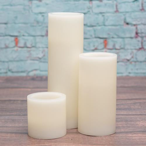"Richland Flameless LED Pillar Candles 3""x3"", 3""x6"" & 3""x9"" Ivory Set of 18"