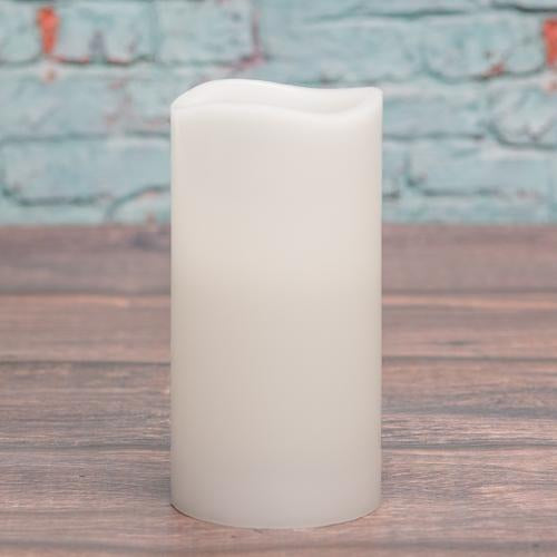 "Richland Flameless LED Wavy Top Pillar Candle White 3""x6"""