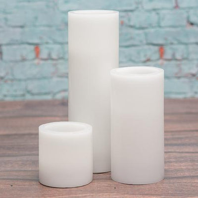 "Richland Flameless LED Pillar Candles 3""x9"" White Set of 6"