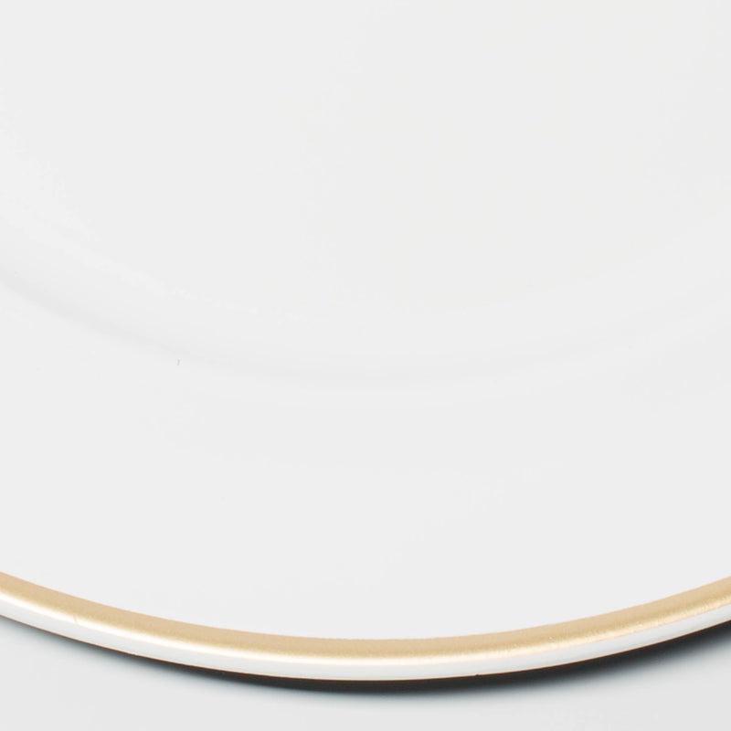 "Richland 13"" White with Gold Rim Charger Plate Set of 12"