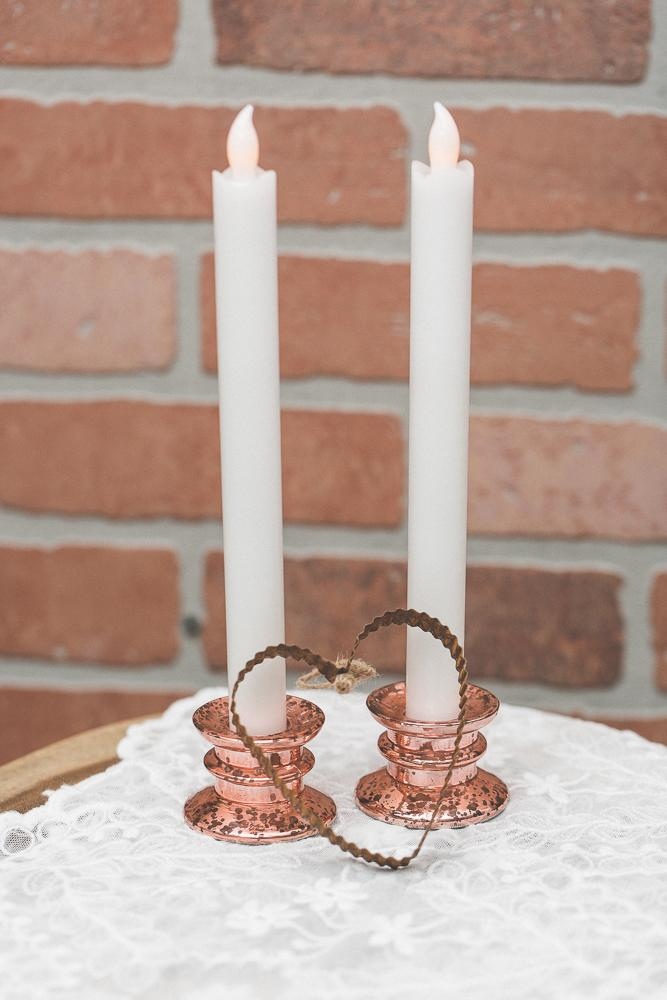 richland athena taper candle holder rose gold set of 12