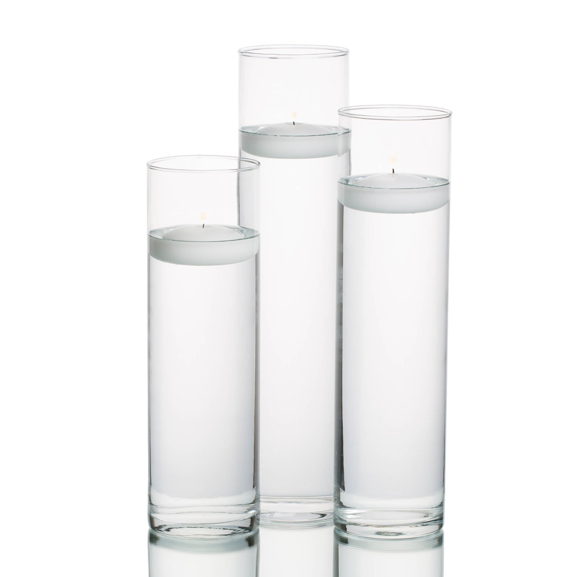 eastland tall cylinder vases with richland floating candles set of 3