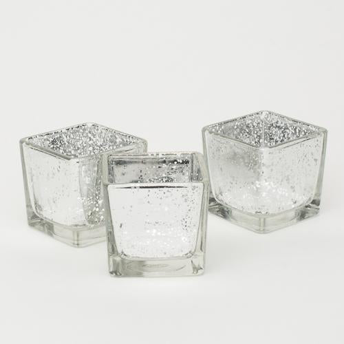 Richland Silver Mercury Square Votive Holder Set of 12