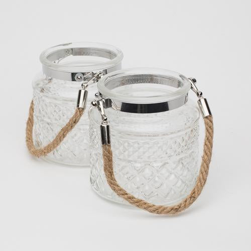 "Richland 4"" Textured Glass Hanging Holder with Twisted Rope Handle Set of 24"