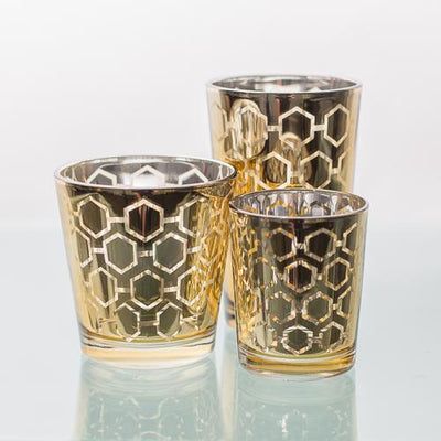 Richland Gold Hexagonal Glass Holder - Large Set of 6