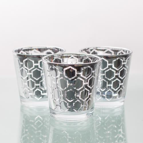 richland silver hexagonal glass holder medium set of 6