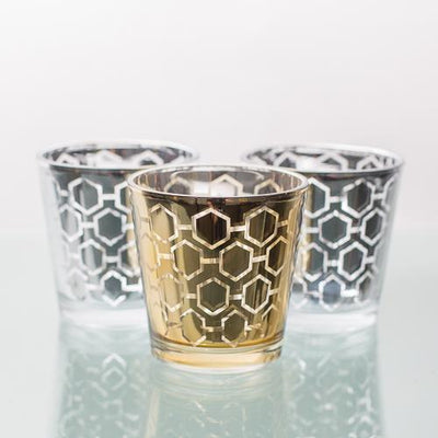 richland gold hexagonal glass holder medium set of 6