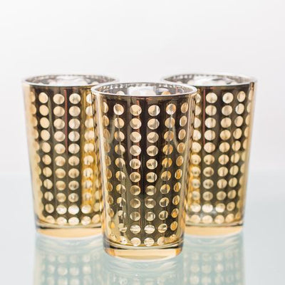 Richland Gold Dotted Glass Holder - Large Set of 6