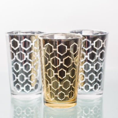 richland silver hexagonal glass holder large set of 6