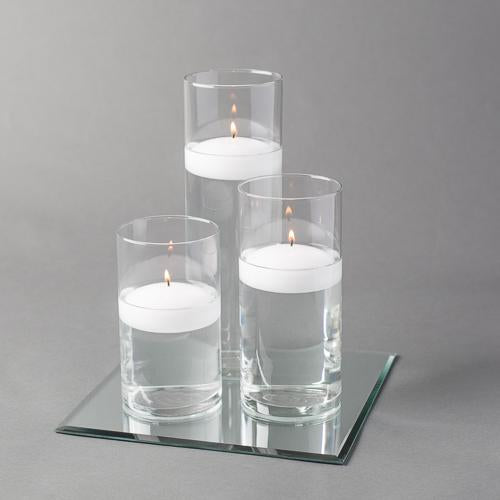 "Eastland Square Mirror and Cylinder Vase Centerpiece with Richland 3"" Floating Candles Set of 48"