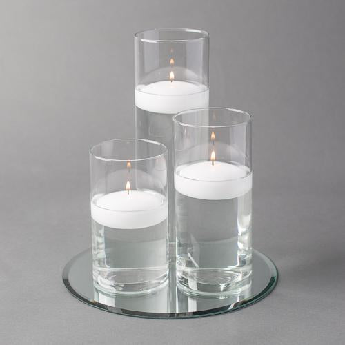 "Eastland Round Mirror and Cylinder Vase Centerpiece with Richland 3"" Floating Candles Set of 48"