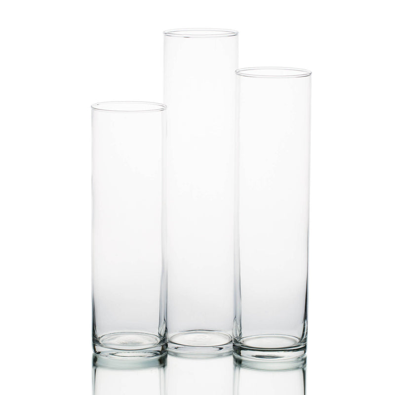 "Eastland Tall Cylinder Vases 13"" , 15"" & 17"" Set of 18"