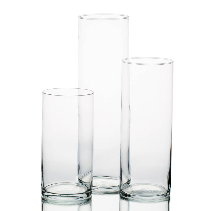 "Eastland Wide Cylinder Vase 5"" Set of 3"