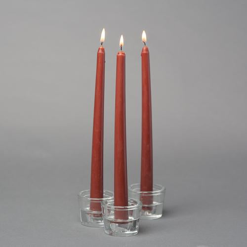 "Richland Taper Candles 10"" Brown Set of 10"