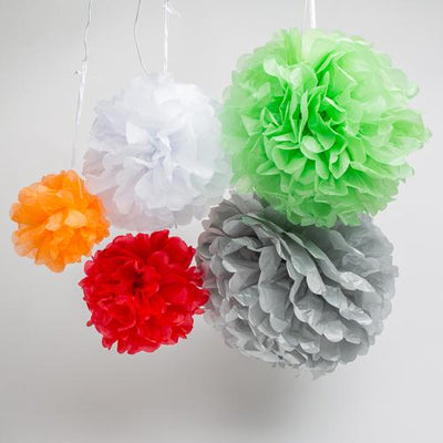 richland 14 tissue paper pom poms red set of 10