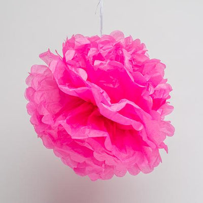 "Richland 12"" Tissue Paper Pom Poms, Fuchsia Set of 10"