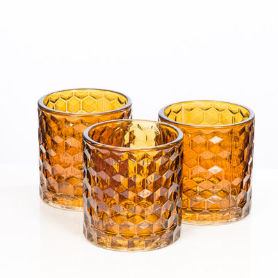 richland amber chunky honeycomb glass votive tealight holder set of 6