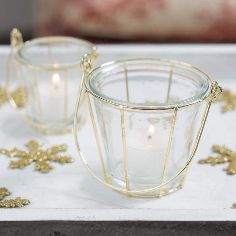 richland glass gold hanging holder basket medium set of 6