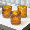Richland Amber Chunky Honeycomb Glass Votive & Tealight Holder Set of 6