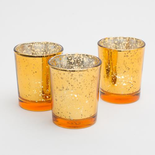 Richland Amber Gold Mercury Votive Holders Set of 12