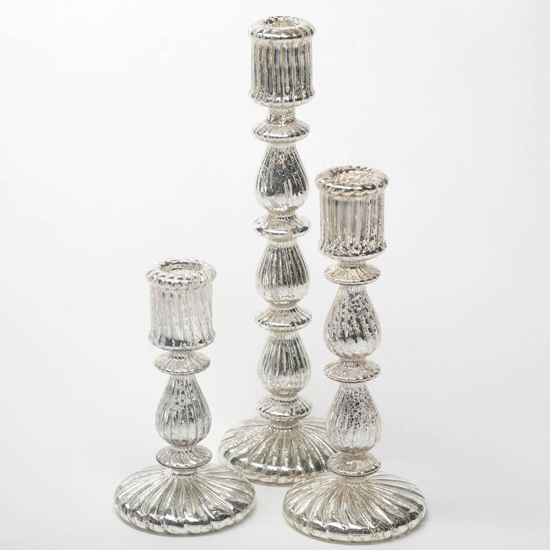 Richland Ribbed Unique Mercury Glass Taper Candle Holder  9.6""
