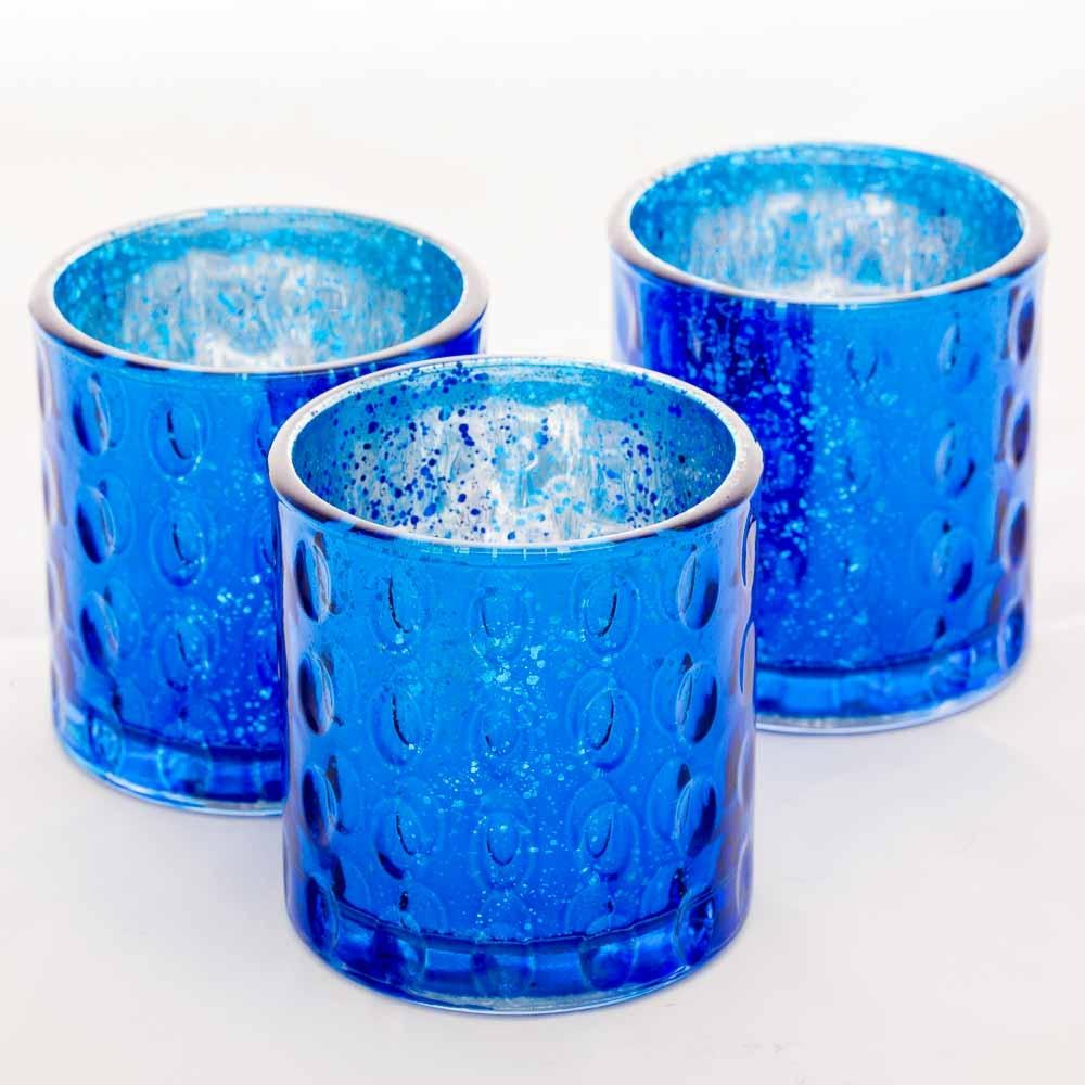 Richland Votive Holder Pinched Blue Mercury Set of 6