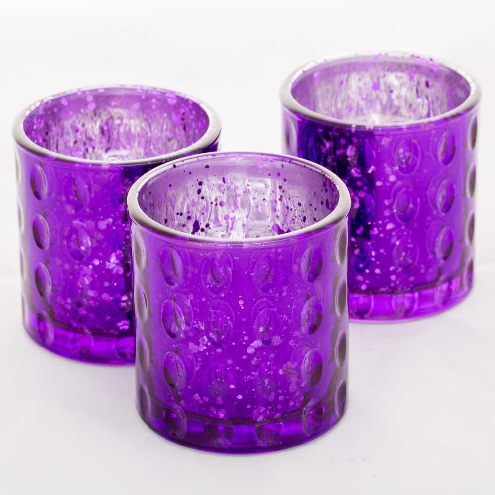 Richland Votive Holder Pinched Purple Mercury Set of 6