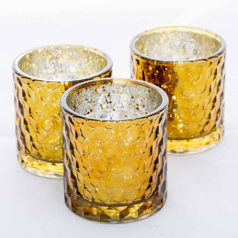 Richland Votive Holder Honeycomb Amber Mercury Set of 6