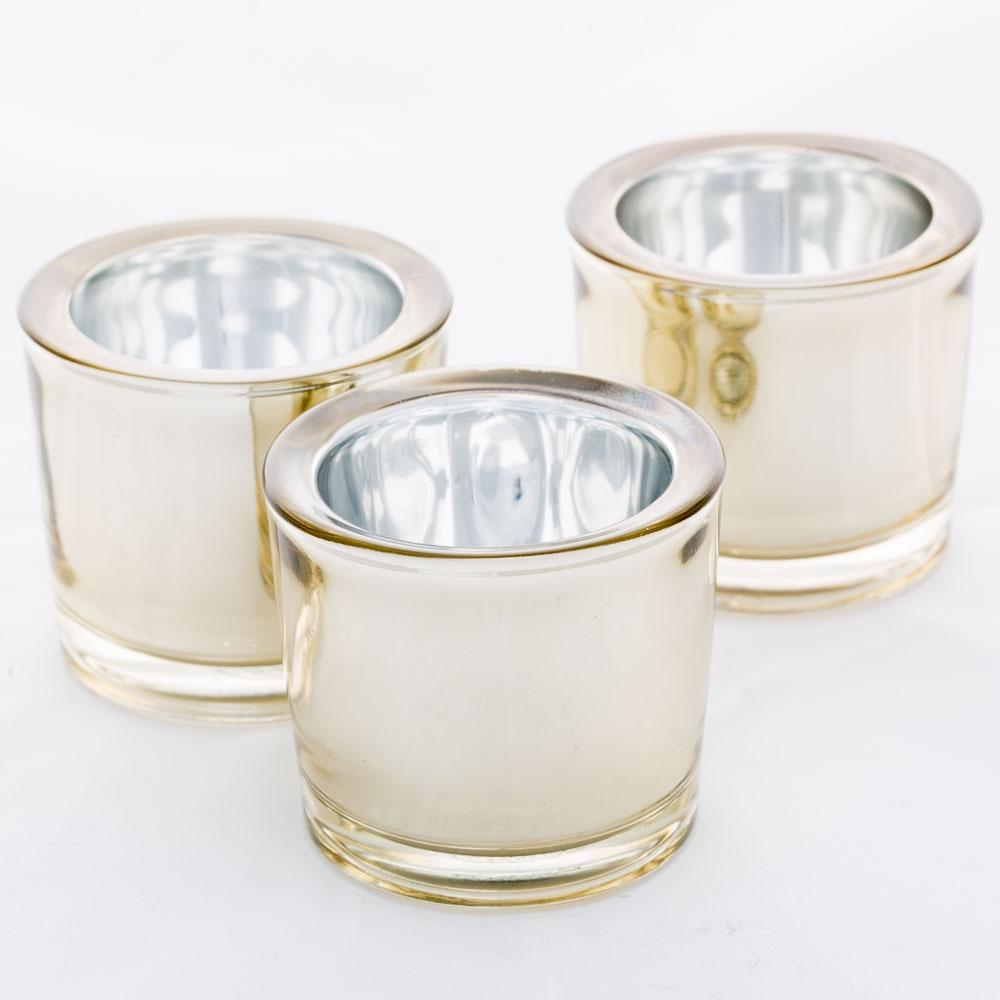 Richland Chunky Votive Holder Gold Mirrored Set of 12