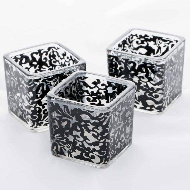 Richland Votive Holder Square Black Lace Set of 12