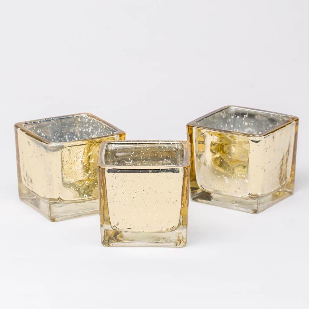 richland metallic gold mercury square votive holder set of 72
