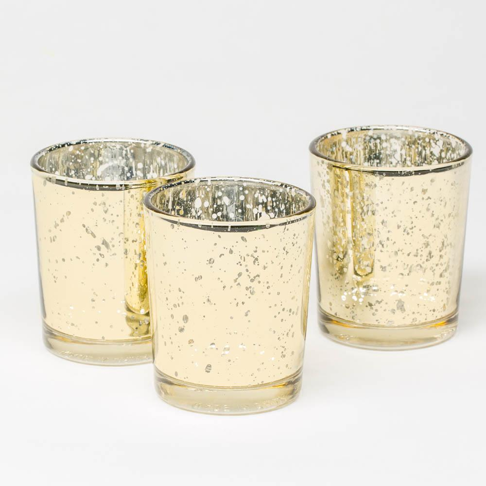 Richland Metallic Gold Mercury Votive Holders Set of 12