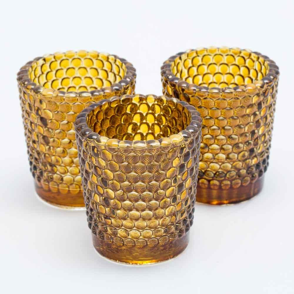 richland votive holder hobnail amber set of 12
