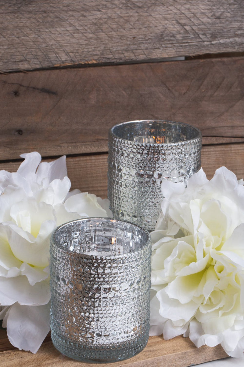 richland mercury candle holder pearly silver small set of 6