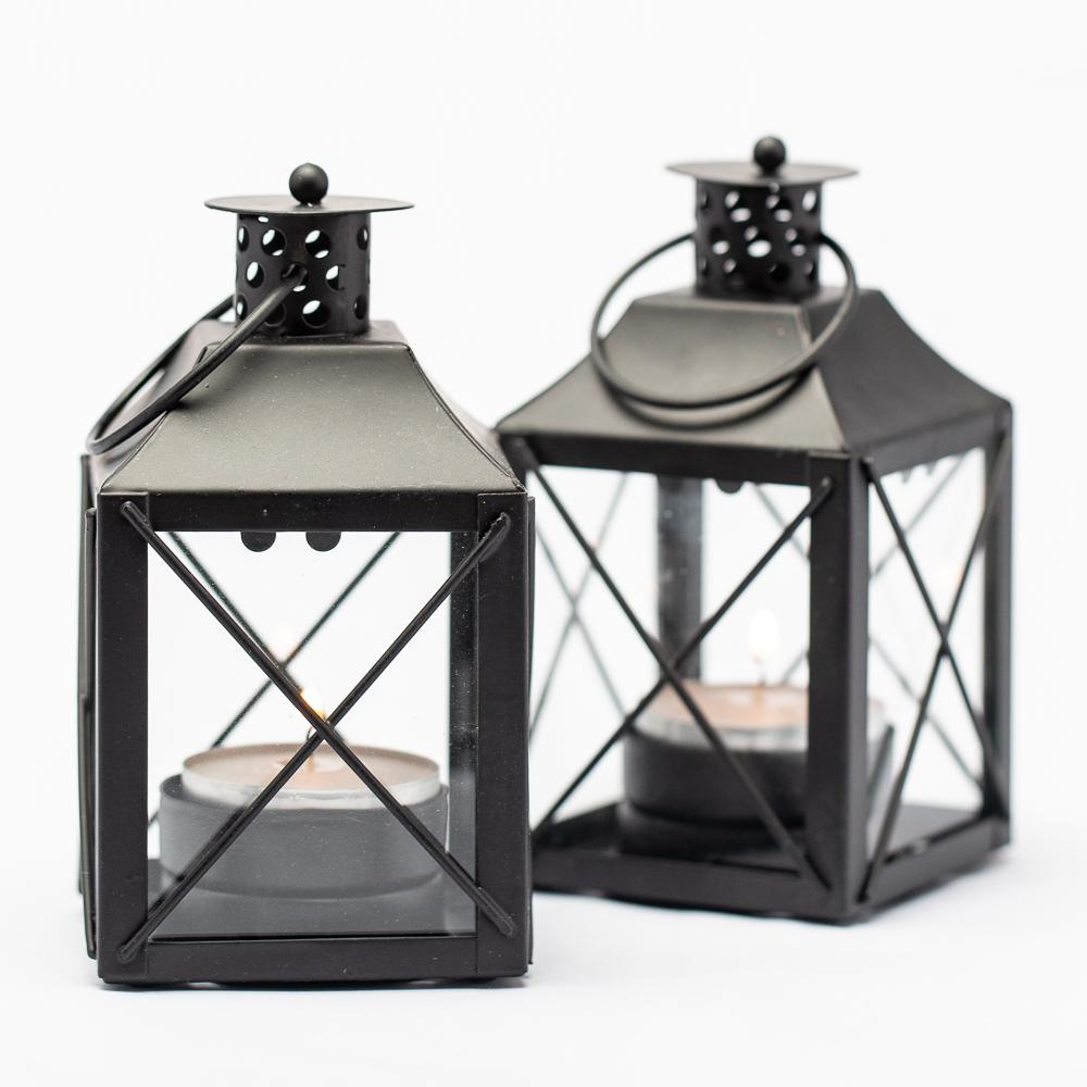 richland mini tealight lanterns black metal set of 5
